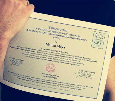 Świadectwo ukończenia czteroletniego kursy z zakresu psychoterapii