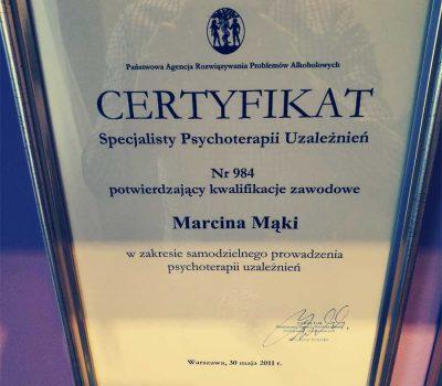 Certyfikat terapeuty uzależnień