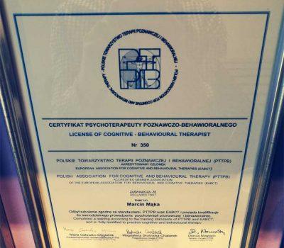 Certyfikat psychoterapeuty poznawczo-behawioralnego