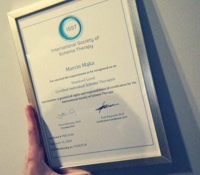 Certyfikat Psychoterapeuty Schematów ISST- Marcin Mąka